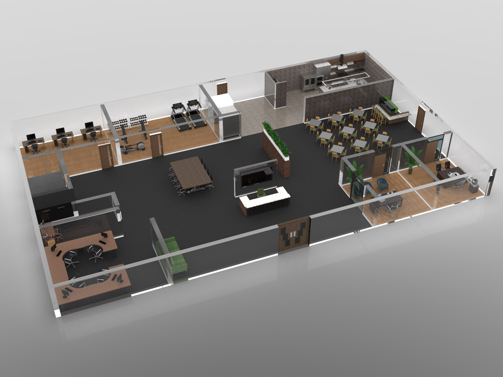 3d rendering of the clubhouse showing several rooms